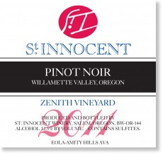 2011 Pinot noir Zenith Vineyard label