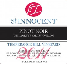 2011 Pinot noir Temperance Hill Vineyard label