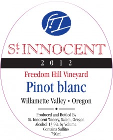 2012 Pinot blanc Freedom Hill Vineyard label