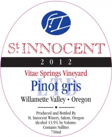 2012 Pinot gris LTD Vitae Springs Vineyard label