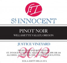 2012 Pinot noir Justice Vineyard label