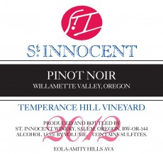 2012 Pinot noir Temperance Hill Vineyard label