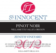 2012 Pinot Noir Zenith Vineyard label