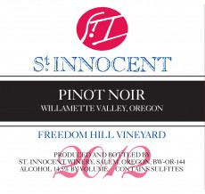 2012 Pinot noir Freedom Hill Vineyard label