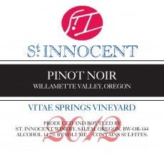 2012 Pinot noir Vitae Springs Vineyard label