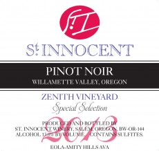 2013 Pinot noir Zenith Vineyard Special Selection label