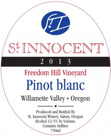 2013 Pinot blanc Freedom Hill Vineyard label