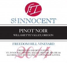 2014 Pinot noir Freedom Hill Vineyard label