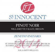 2014 Pinot noir Zenith Vineyard label