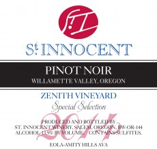 2014 Pinot noir Zenith Vineyard Special Selection label