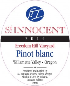 2014 Pinot blanc Freedom Hill Vineyard label