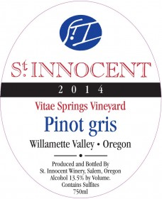 2014 Pinot gris Vitae Springs Vineyard label