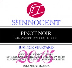 2015 Pinot noir Justice Vineyard label