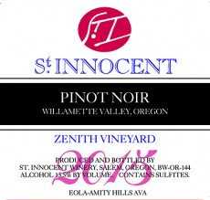 2015 Zenith Vineyard Pinot noir label