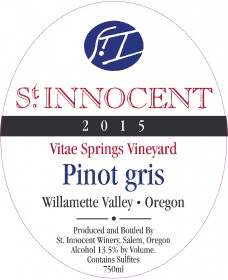 2015 Pinot gris Vitae Springs Vineyard label
