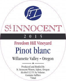 2015 Pinot blanc Freedom Hill Vineyard label