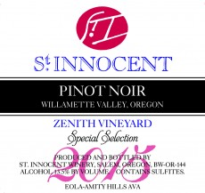 2015 Pinot noir Zenith Vineyard Special Selection label
