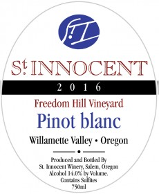 2016 Pinot blanc Freedom Hill Vineyard label