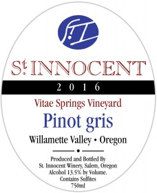 2016 Pinot gris Vitae Springs Vineyard label