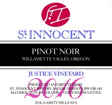 2016 Pinot noir Justice Vineyard label