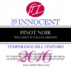 2016 Pinot noir Temperance Hill Vineyard label