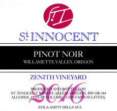 2016 Pinot noir Zenith Vineyard label