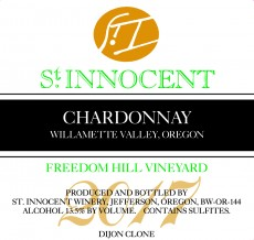 2017 Chardonnay Freedom Hill Vineyard label